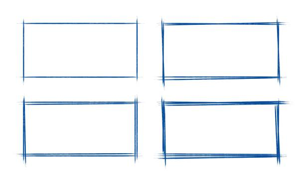 一套手畫的垃圾樣式深藍色老式圓珠筆矩形塗鴉塗鴉在白皮書背景 - 長方形 幅插畫檔、美工圖案、卡通及圖標