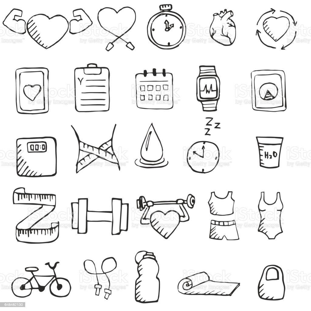 Conjunto de mão desenhada conjunto de ícones de estilo de vida saudável. - ilustração de arte em vetor
