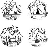 Set of hand drawn hiking and tourism emblems. Design element for  poster, card, emblem, print.