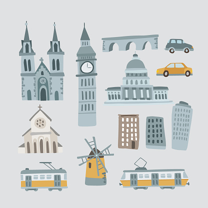 Set of hand drawn houses, monuments. Transportation vehicles. Urban icons isolated on blue background. Town, village concept. Cathedral, Big Ben tower, Capitol and bridge. Cars and trams, vectors.
