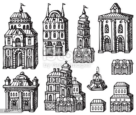 Set of hand drawn houses, old style building facades. Old houses, city buildings, doodle decorative elements collection. Outline black and white vector illustration. Coloring for children and adults.