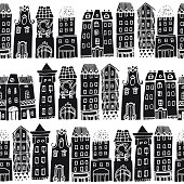Set of Hand drawn houses. Seamless pattern with hand-drawn European architecture.