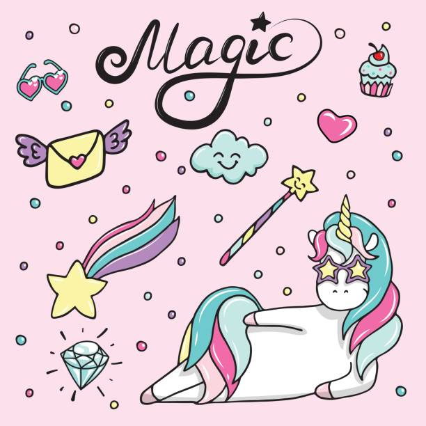 Set of hand drawn illustration of a magic unicorn, wand, heart-sunglasses, diamond and other magic attributes vector art illustration