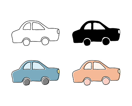 Set of hand drawn illustrations of cute cars