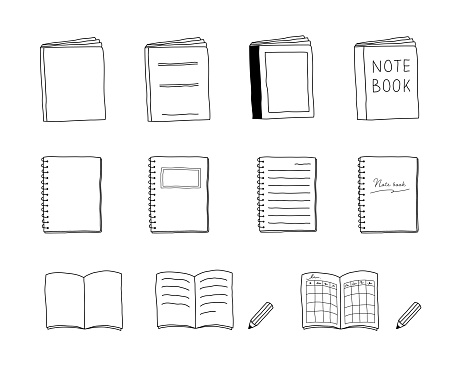 Set of hand drawn illustrations of notebook