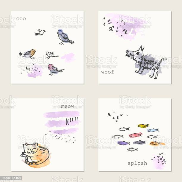 Set of hand drawn ink and watercolor cards with animals drawings vector id1090165104?b=1&k=6&m=1090165104&s=612x612&h=ucu3himjhvhatzdid jugtlpud6cnfxvqpelockbl8k=