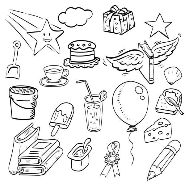 eine gruppe von hand gezeichneten tinte doodle, cartoon-skizze, zeichnung, illustration - schulbedarfskuchen stock-grafiken, -clipart, -cartoons und -symbole