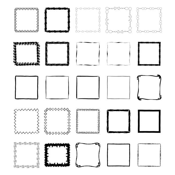 Set of hand drawn ink frames. Brush texture. Isolated. Set of hand drawn ink frames. Brush texture. Isolated. square composition stock illustrations