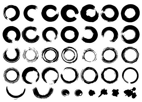Set of hand drawn ink grunge elements