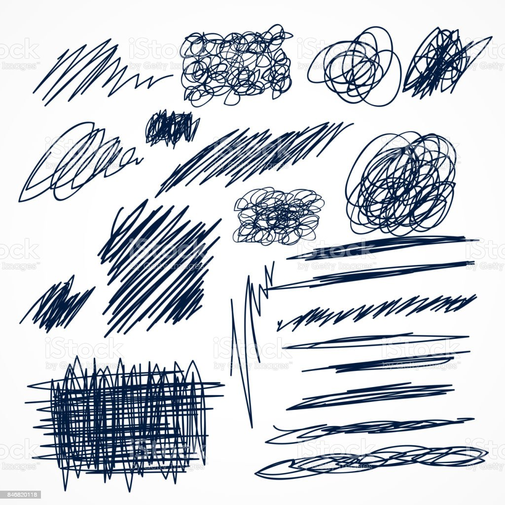 set of hand drawn ink pen scribbles vector art illustration