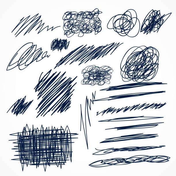 illustrations, cliparts, dessins animés et icônes de ensemble de gribouillis de stylo encre dessinés à la main - griffonnage