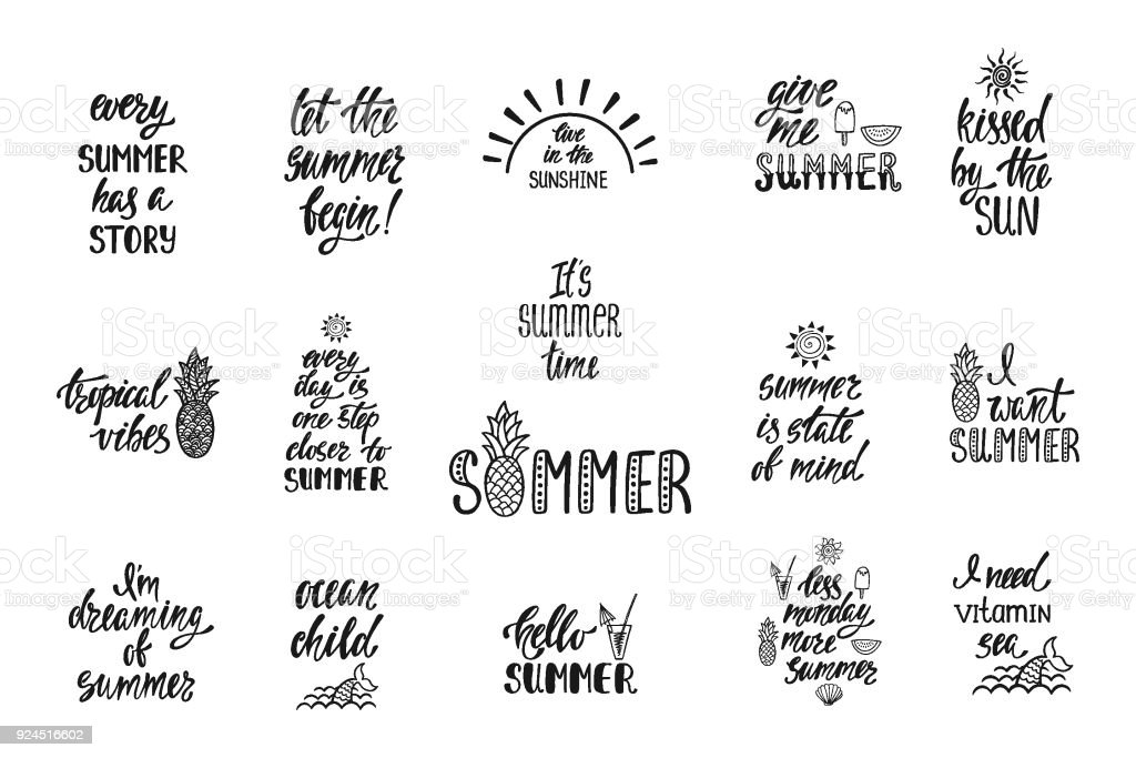 Set Of Hand Drawn Inspiration Quotes About Summer Modern Calligraphy Phrases Simple Vector Lettering