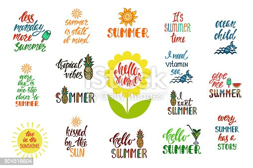 Set Of Hand Drawn Inspiration Quotes About Summer Stock Vector Art
