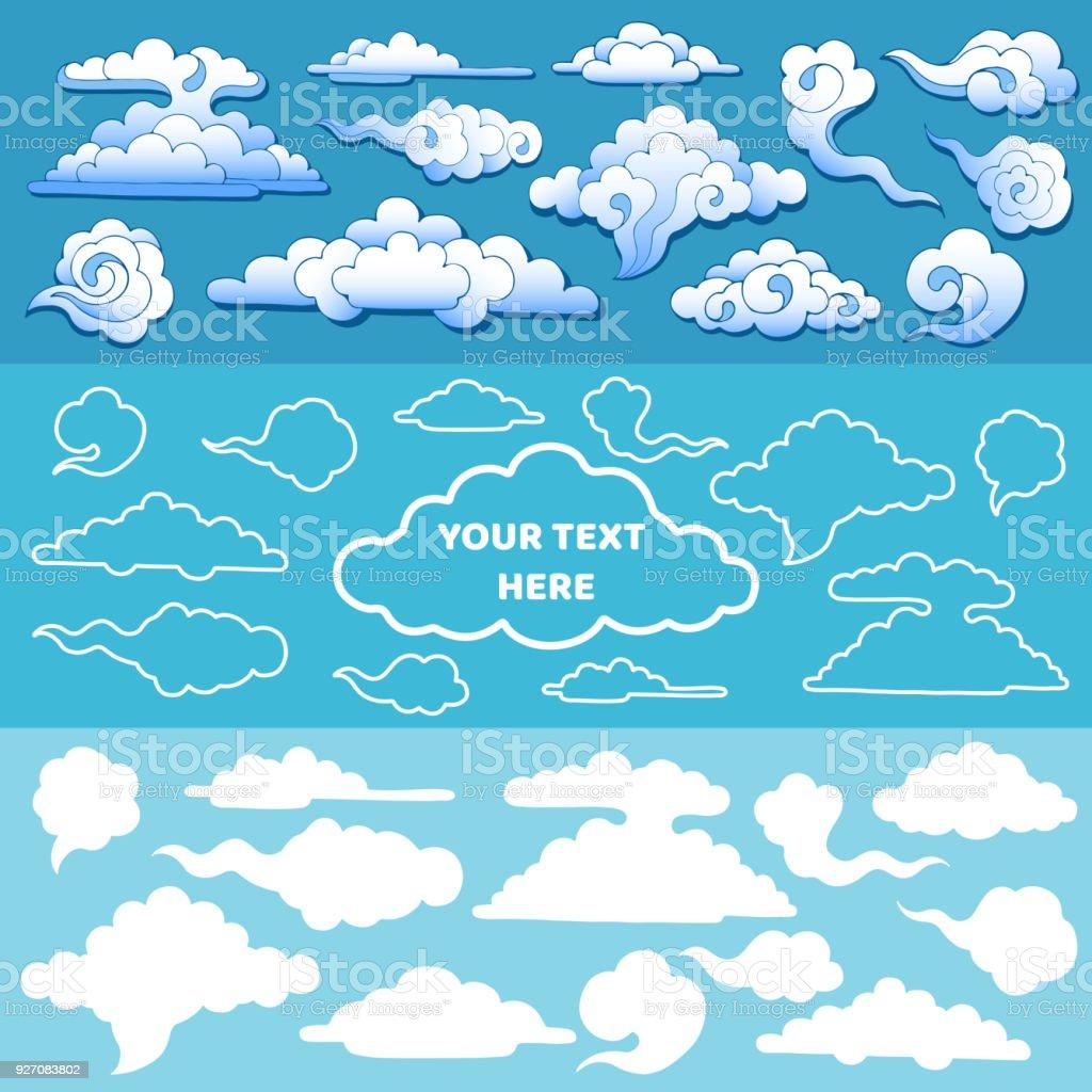 Satz Von Hand Gezeichneten Japan Stil Wolken In Verschiedenen Größen ...
