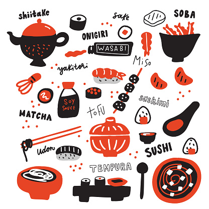 Set of Hand drawn japanese food and its names. Doodles. typography. Made in vector.