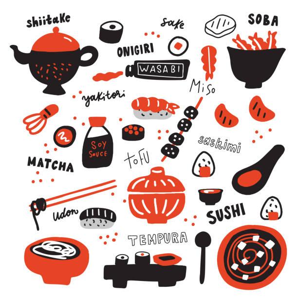 手描きの日本料理とその名のセット。いたずら 書き。タイポグラフィ。ベクターで作られています。 - 和食点のイラスト素材/クリップアート素材/マンガ素材/アイコン素材