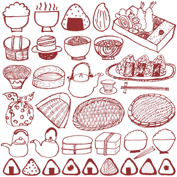 手描きの和食のセット。 - 和食点のイラスト素材/クリップアート素材/マンガ素材/アイコン素材