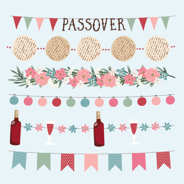 Set of  hand drawn Jewish holiday Pesach, Passover garlands with lights, party bunting flags. Hand drawn web banners, borders with bottle of wine, matzo bread, olive branches and flowers. Set of  hand drawn Jewish holiday Pesach, Passover garlands with lights, party bunting flags. Hand drawn web banners, borders with bottle of wine, matzo bread, olive branches and flowers. passover stock illustrations