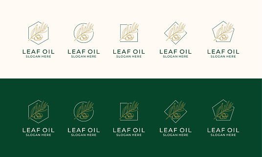 Set of Hand drawn label of extra virgin olive oil logo design template