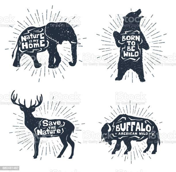 Set of hand drawn labels with animals vector illustrations and vector id680461462?b=1&k=6&m=680461462&s=612x612&h=qcaq4hg4ctmr17ecbypwftakctz5 xe2lccznhi0sbs=