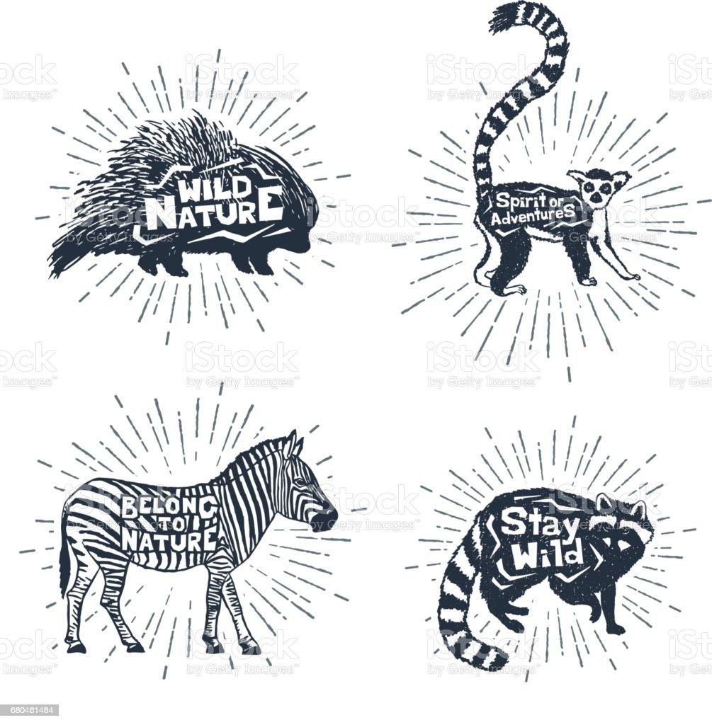 動物ベクトル イラストやレタリングを手描きラベルのセット - ひらめきの