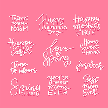 Set of hand drawn lettering about spring holidays - easter, mother s day, 8th march. Linear vector calligraphy.