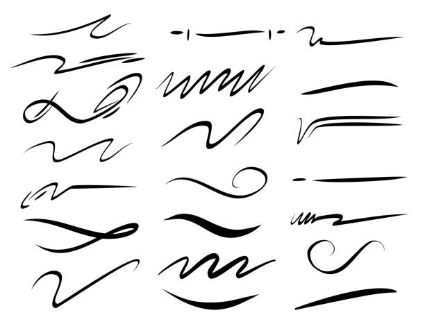 Set of hand drawn lettering and calligraphy swirls, squiggles. Vector ink decorations for composition Set of hand drawn lettering and calligraphy swirls, squiggles. Vector ink decorations for composition. squiggle stock illustrations