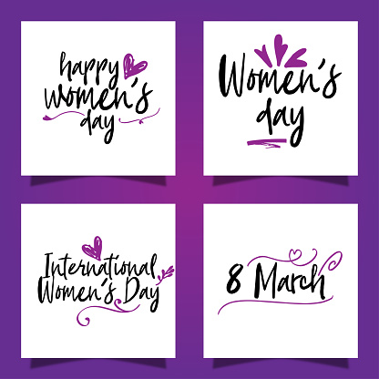 Set of hand drawn lettering. Happy women's day. Purple background