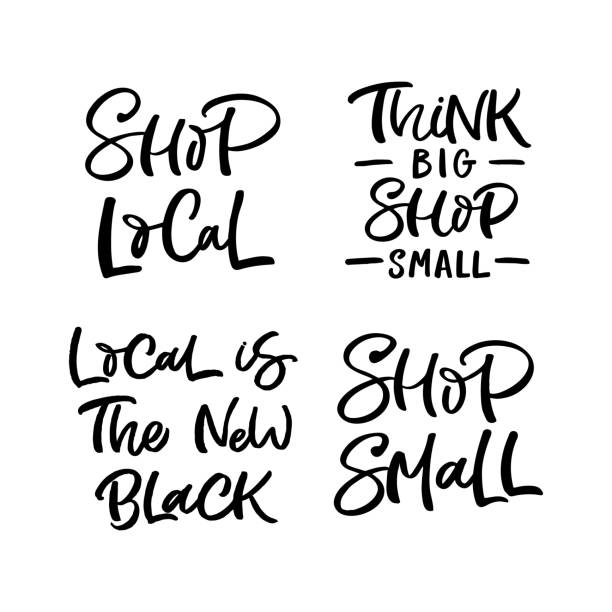 Set of hand drawn lettering quotes about local shopping. Perfect design for greeting cards, posters, T-shirts, banners, print invitations. Set of hand drawn lettering quotes about local shopping. Perfect design for greeting cards, posters, T-shirts, banners, print invitations. ethical consumerism stock illustrations