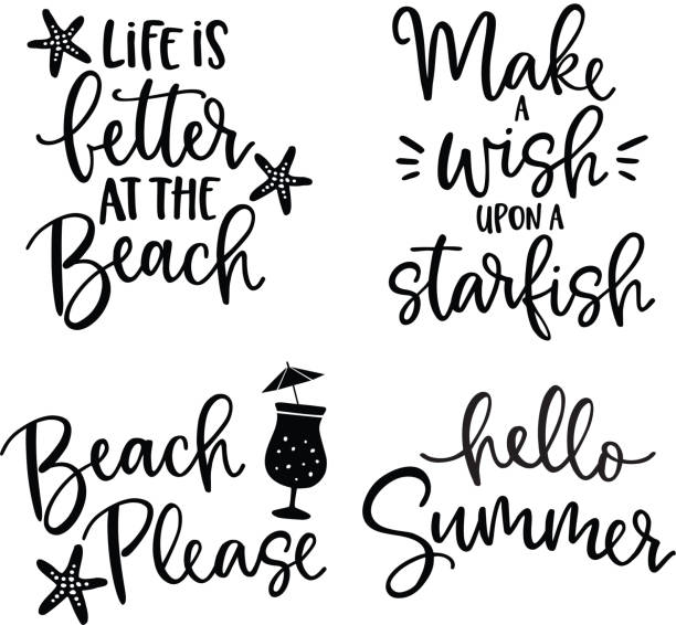 Set of hand drawn lettering quotes card .Vector hand drawn motivational and inspirational quotes. Calligraphy poster. Vacation, summer and beach concept. Set of hand drawn lettering quotes card .Vector hand drawn motivational and inspirational quotes, calligraphy poster. Vacation, summer and beach concept. sayings stock illustrations