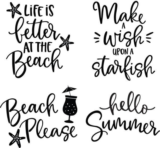 bildbanksillustrationer, clip art samt tecknat material och ikoner med uppsättning av handritad bokstäver citat kort. vector hand dras motiverande och inspirerande citat. kalligrafi affisch. semester, sommar och beach koncept. - ordspråk