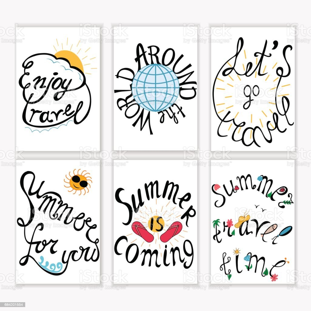 Set of hand drawn lettering summer and travel card for print, banner, postcard  or poster . For summer vacation, travel agency royalty-free set of hand drawn lettering summer and travel card for print banner postcard or poster for summer vacation travel agency stock vector art & more images of art