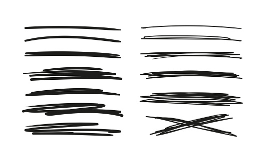 Set of hand drawn lines. Doodle design. Scribble with a pen, stripes with a pencil. Black abstract elements for design. Stock vector isolated on white background.