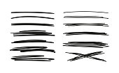 istock Set of hand drawn lines. Doodle design. Scribble with a pen, stripes with a pencil. Black abstract elements for design. Stock vector isolated on white background 1193277975
