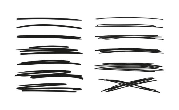 zestaw linii rysowanych ręcznie. doodle. bazgroły długopisem, paski z ołówkiem. czarne abstrakcyjne elementy do projektowania. wektor magazynowy wyizolowany na białym tle - bazgroły rysunek stock illustrations