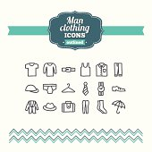 Set of hand drawn man clothing icons