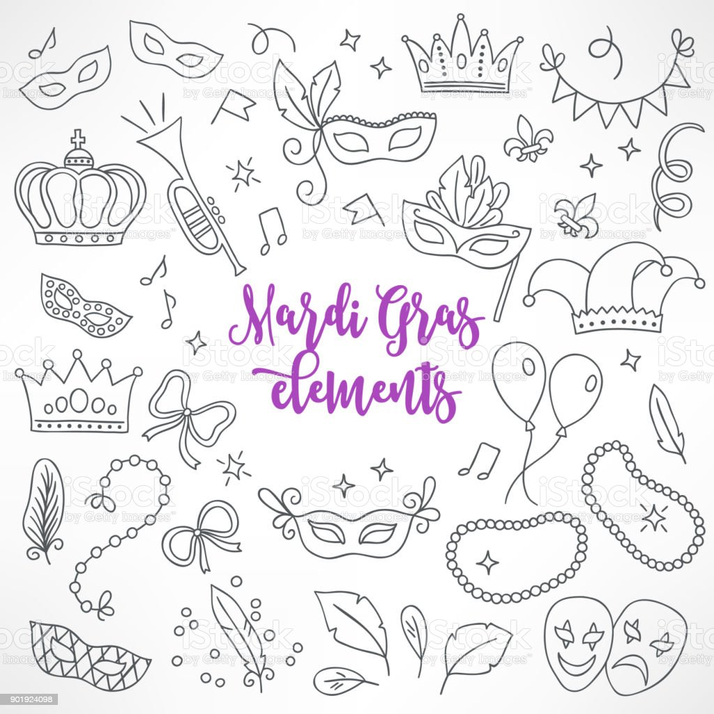 Set of hand drawn Mardi Gras design elements vector art illustration