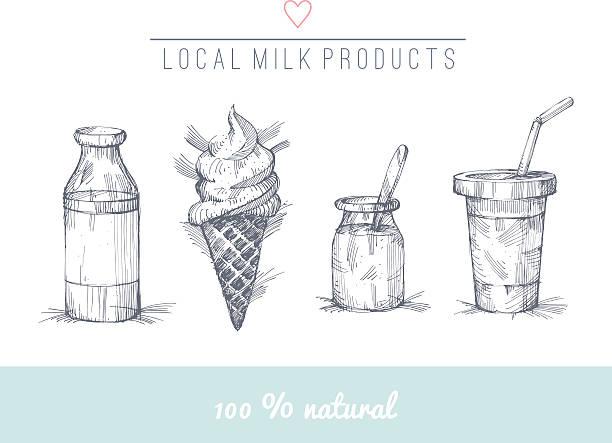 Set of hand drawn milk products vector art illustration