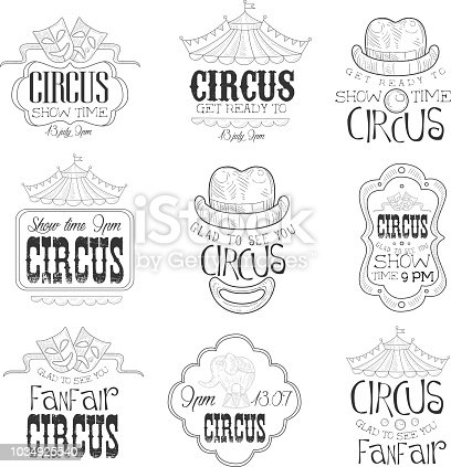Set Of Hand Drawn Monochrome Circus Show Promotion Signs In Pencil Sketch Style With Calligraphic Text And Detailed Vintage Frames. Theatre Festival Artistic Labels Design Templates Collection In Black And White Color Vector Illustrations.