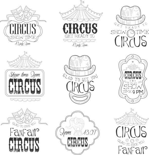 von hand gezeichnet monochrome circus show promotion eingeschlossen in bleistift-skizze-stil mit kalligrafischen text und detaillierte vintage-rahmen - fanfare stock-grafiken, -clipart, -cartoons und -symbole