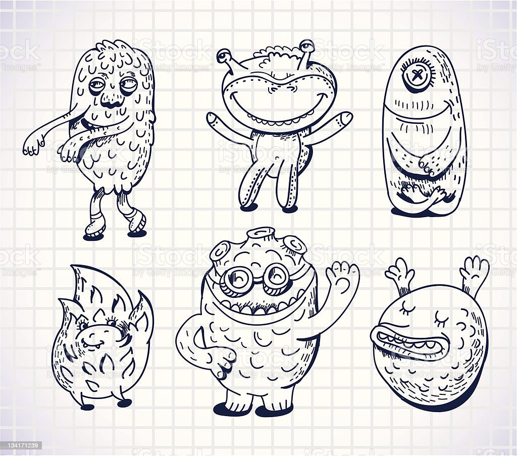 set of hand drawn monsters and freaks vector art illustration
