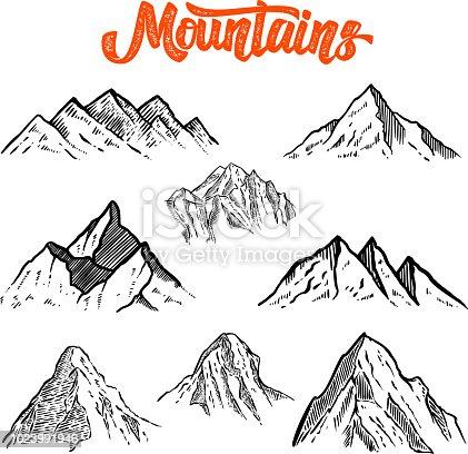 Set of hand drawn mountain illustrations. Design element for poster, card, emblem, sign banner. Vector image