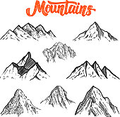 Set of hand drawn mountain illustrations. Design element for poster, card, emblem, sign banner. Vector image