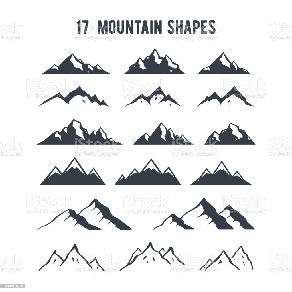 Conjunto de silhuetas de montanha de mão desenhada. Picos de montanhas para criação de logotipo, distintivos e emblemas. - Vetor de Abstrato royalty-free