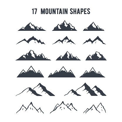 Set of hand drawn mountain silhouettes. Mountains peaks for creating logo, badges and emblems. clipart