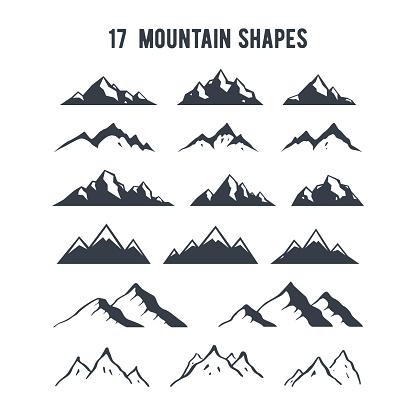 Vetores de Conjunto De Silhuetas De Montanha De Mão Desenhada Picos De Montanhas Para Criação De Logotipo Distintivos E Emblemas e mais imagens de Abstrato
