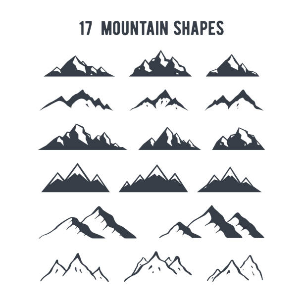 Set of hand drawn mountain silhouettes. Mountains peaks for creating logo, badges and emblems. Set of hand drawn mountain silhouettes. Mountains peaks for creating logo, badges and emblems. mountains stock illustrations