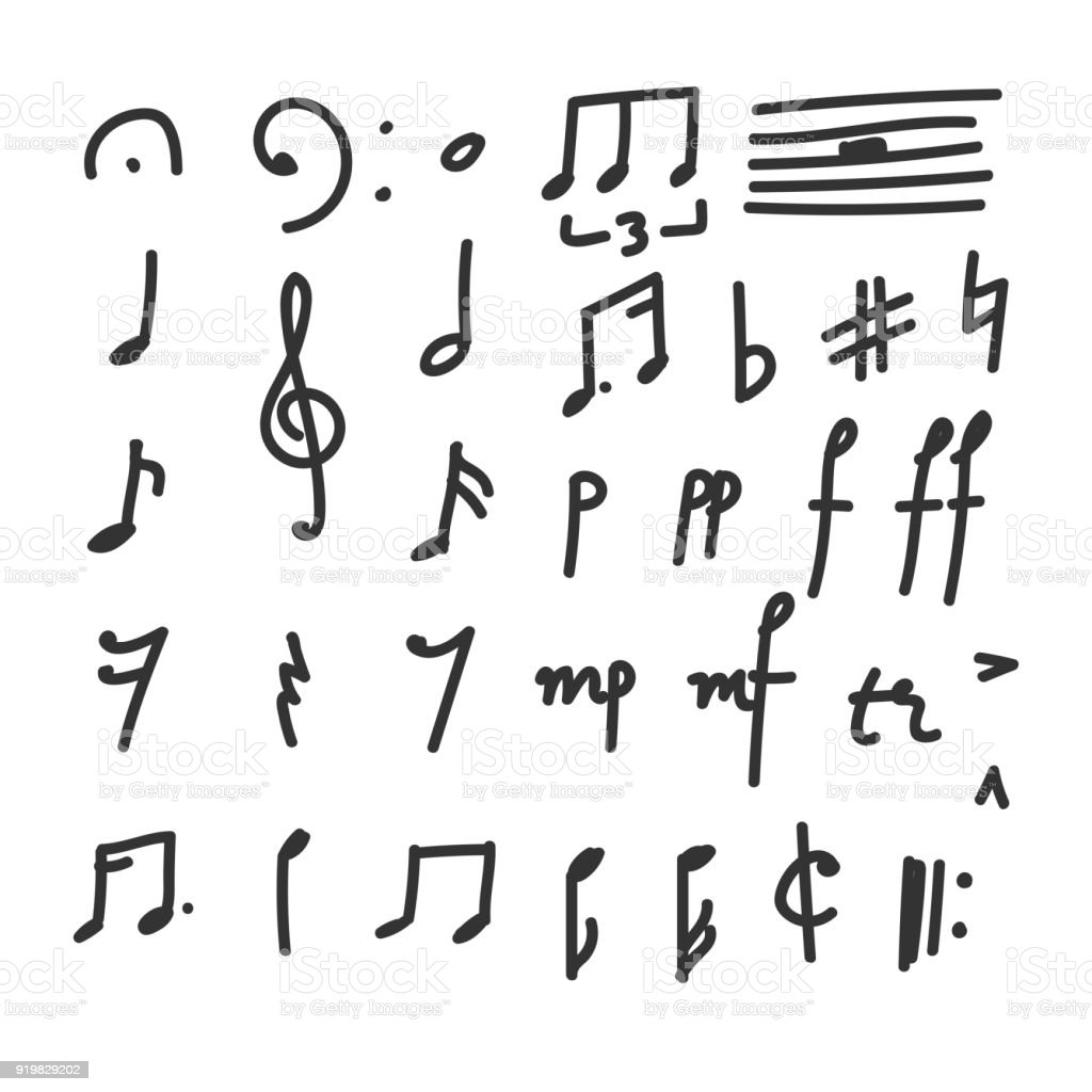 Set Of Hand Drawn Music Notes And Symbols Icons Doodles And Sketches