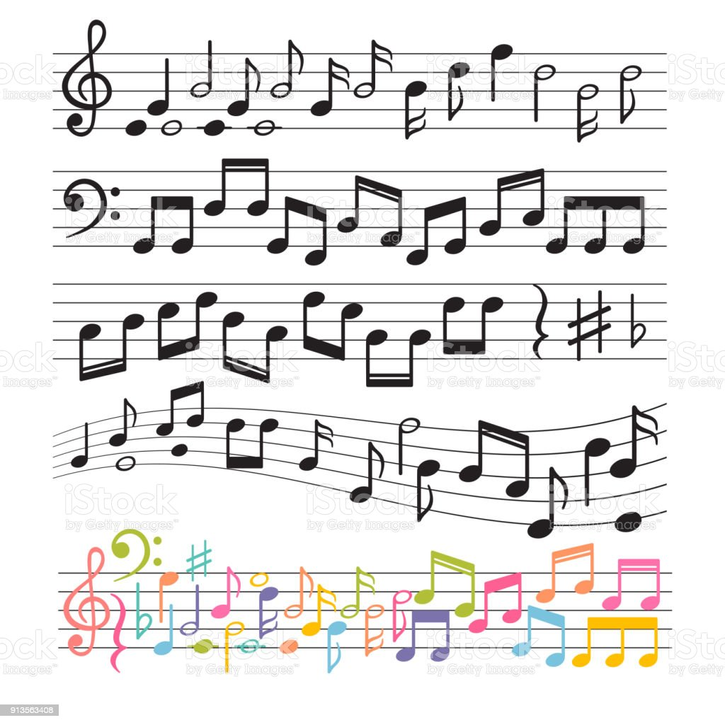 Set of hand drawn music notes. Music design elements. Key sign collection. Melody symbols vector art illustration
