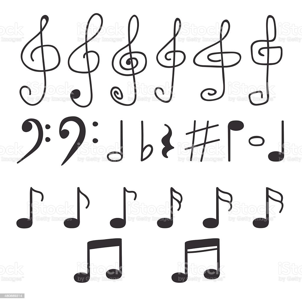 Set of hand drawn music notes stock vector art more for Note musicali dwg
